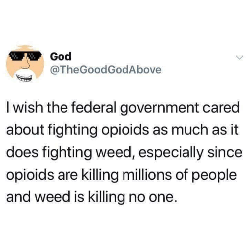 federal government: God  @TheGoodGodAbove  I wish the federal government cared  about fighting opioids as much as it  does fighting weed, especially since  opioids are killing millions of people  and weed is killing no one.