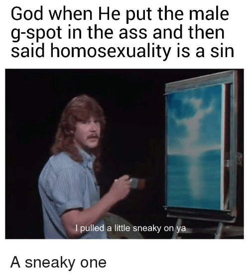 The Ass: God when He put the male  g-spot in the ass and then  said homosexuality is a sin  I pulled a little sneaky on  ya A sneaky one