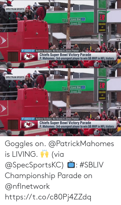 Parade: Goggles on.  @PatrickMahomes is LIVING. 🙌 (via @SpecSportsKC)  📺: #SBLIV Championship Parade on @nflnetwork https://t.co/c80Pj4ZZdq