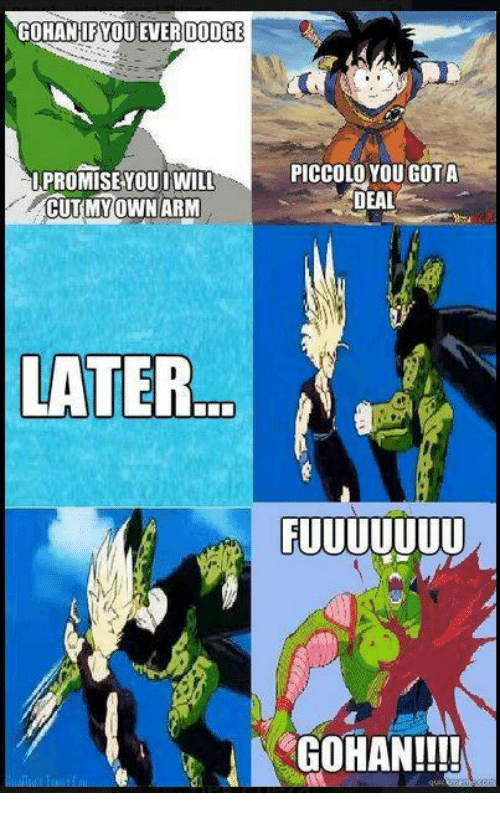 gohan if you ever dodge promise you i will cutmy own arm later