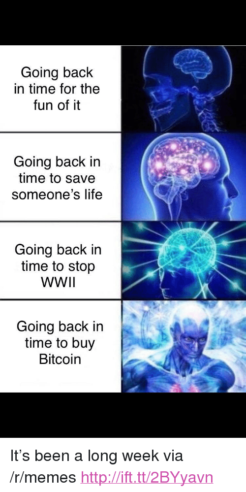 """Life, Memes, and Http: Going back  in time for the  fun of it  Going back in  time to save  someone's life  Going back in  time to stop  WWIl  Going back in  time to buy  Bitcoin <p>It's been a long week via /r/memes <a href=""""http://ift.tt/2BYyavn"""">http://ift.tt/2BYyavn</a></p>"""
