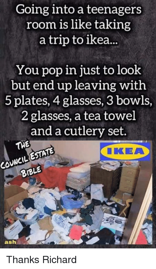 Ash, Memes, and Pop: Going into a teenagers  room is like taking  a trip to ea.  You pop in just to look  but end up leaving with  5 plates, 4 glasses, 3 bowls,  2 glasses, a tea towel  and a cutlery set  TWE  ESTATE  CIKKEA  8BLE  ash Thanks Richard