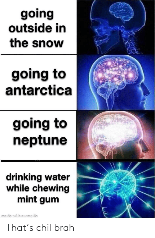 Antarctica: going  outside in  the snow  going to  antarctica  going to  neptune  drinking water  while chewing  mint gum  wade with mematic That's chil brah