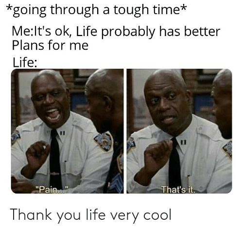 """that's it: *going through a tough time*  Me:It's ok, Life probably has better  Plans for me  Life:  11  That's it  """"Pain Thank you life very cool"""