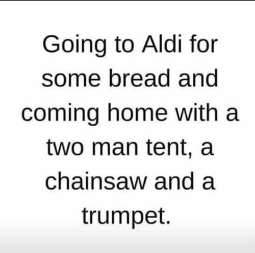 tent: Going to Aldi for  some bread and  coming home with a  two man tent, a  chainsaw and a  trumpet.