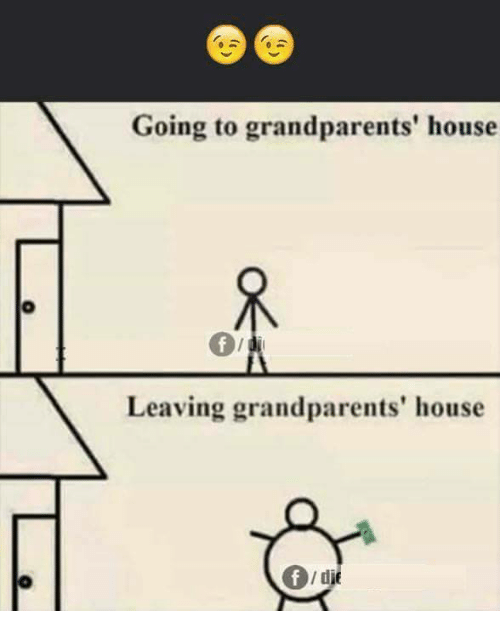 Memes, House, and 🤖: Going to grandparents' house  Leaving grandparents' house  0