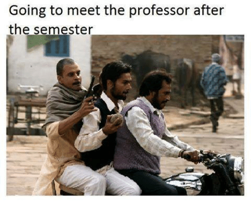 the professor: Going to meet the professor after  the semester