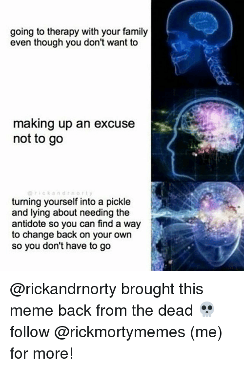 Antidote, Family, and Meme: going to therapy with your family  even though you don't want to  making up an excuse  not to go  turning yourself into a pickle  and lying about needing the  antidote so you can find a way  to change back on your own  so you don't have to go @rickandrnorty brought this meme back from the dead 💀 follow @rickmortymemes (me) for more!