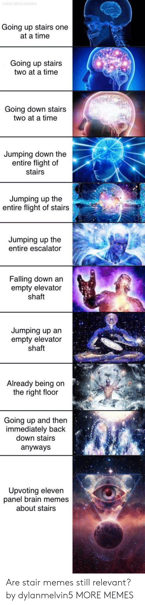 Escalator: Going up stairs one  at a time  Going up stairs  two at a time  Going down stairs  two at a time  Jumping down the  entire flight of  stairs  Jumping up the  entire flight of stairs  Jumping up the  entire escalator  Falling down an  empty elevator  shaft  Jumping up an  empty elevator  shaft  Already being on  the right floor  Going up and then  immediately back  down stairs  anyways  Upvoting eleven  panel brain memes  about stairs Are stair memes still relevant? by dylanmelvin5 MORE MEMES