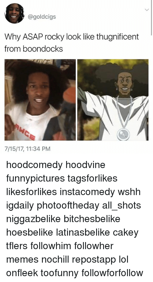 Lol, Memes, and Rocky: @goldcigs  Why ASAP rocky look like thugnificent  from boondocks  7/15/17, 11:34 PM hoodcomedy hoodvine funnypictures tagsforlikes likesforlikes instacomedy wshh igdaily photooftheday all_shots niggazbelike bitchesbelike hoesbelike latinasbelike cakey tflers followhim followher memes nochill repostapp lol onfleek toofunny followforfollow