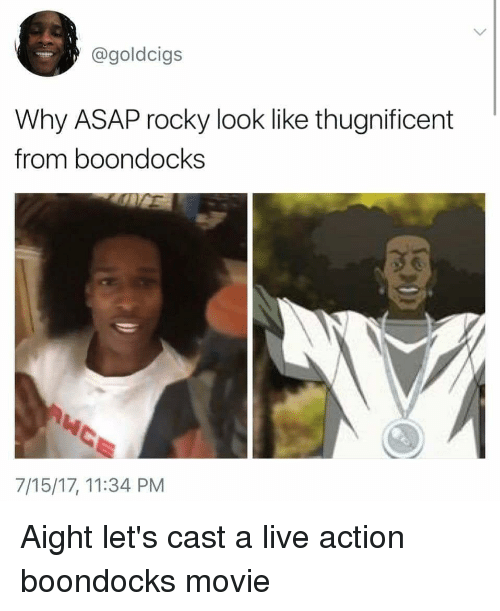 Blackpeopletwitter, Funny, and Rocky: @goldcigs  Why ASAP rocky look like thugnificent  from boondocks  7/15/17, 11:34 PM