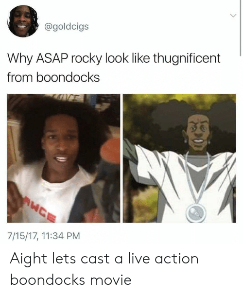 Asap Rocky: @goldcigs  Why ASAP rocky look like thugnificent  from boondocks  7/15/17, 11:34 PM Aight lets cast a live action boondocks movie