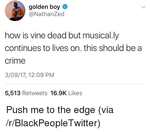 Musical Ly: golden boy  @NathanZed  how is vine dead but musical.ly  continues to lives on. this should be a  crime  3/09/17, 12:09 PM  5,513 Retweets 16.9K Likes <p>Push me to the edge (via /r/BlackPeopleTwitter)</p>