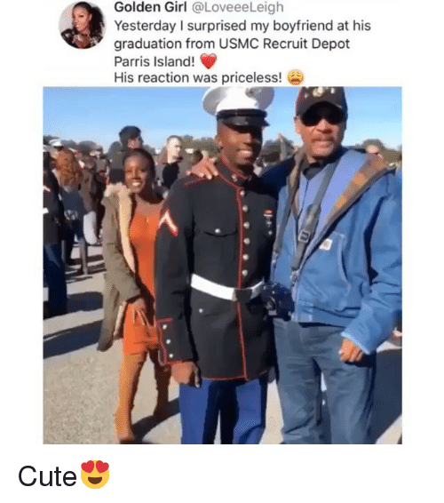 usmc: Golden Girl @LoveeeLeigh  Yesterday I surprised my boyfriend at his  graduation from USMC Recruit Depot  Parris Island!  His reaction was priceless! Cute😍