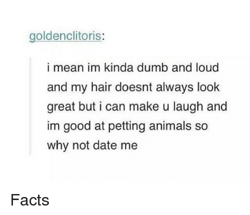 Animals, Dumb, and Facts: goldenclitoris:  i mean im kinda dumb and loud  and my hair doesnt always look  great but i can make u laugh and  im good at petting animals so  why not date me Facts