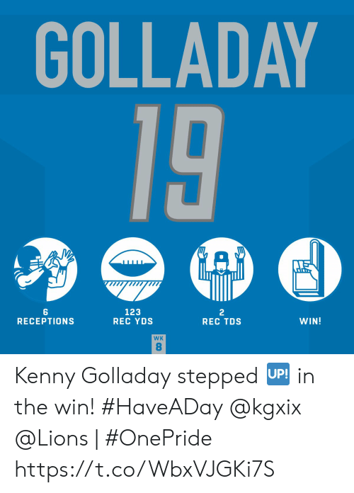 kenny: GOLLADAY  19  123  REC YDS  2  REC TDS  WIN!  RECEPTIONS  WK  8 Kenny Golladay stepped 🆙 in the win! #HaveADay @kgxix   @Lions | #OnePride https://t.co/WbxVJGKi7S