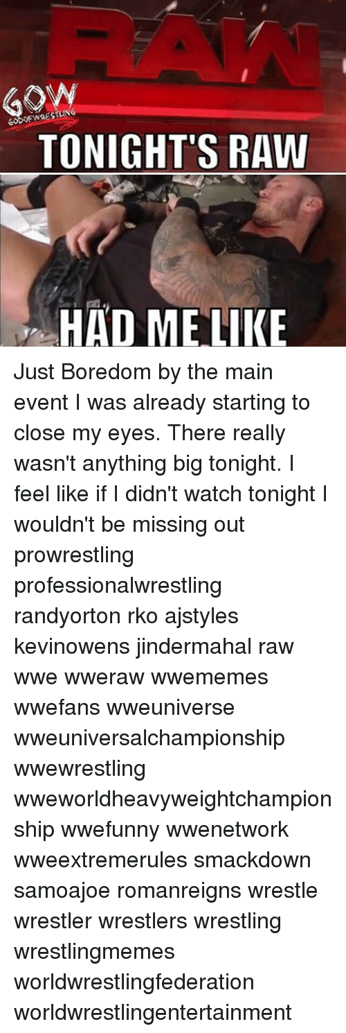 Memes, Wrestling, and World Wrestling Entertainment: GON  TONIGHT'S RAW  HAD ME LIKE Just Boredom by the main event I was already starting to close my eyes. There really wasn't anything big tonight. I feel like if I didn't watch tonight I wouldn't be missing out prowrestling professionalwrestling randyorton rko ajstyles kevinowens jindermahal raw wwe wweraw wwememes wwefans wweuniverse wweuniversalchampionship wwewrestling wweworldheavyweightchampionship wwefunny wwenetwork wweextremerules smackdown samoajoe romanreigns wrestle wrestler wrestlers wrestling wrestlingmemes worldwrestlingfederation worldwrestlingentertainment