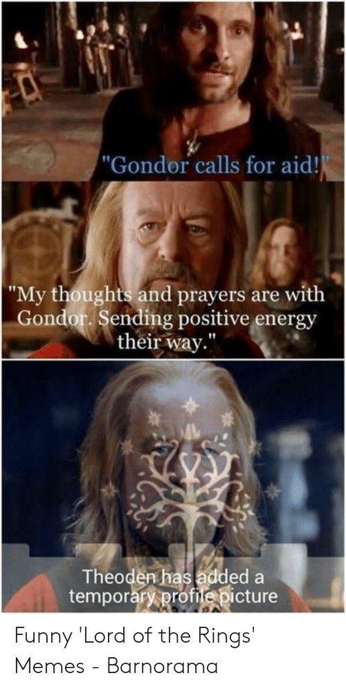 """Funny Lord Of The Rings: """"Gondor calls for aid!  """"My thoughts and prayers are with  Gondor. Sending positive energy  their way""""  Theoden has added a  temporary profiedicture Funny 'Lord of the Rings' Memes - Barnorama"""