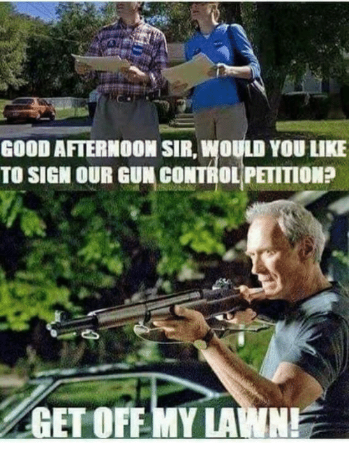 Memes, Control, and Good: GOOD AFTERMOOM SIR, WOULD YOU LIKE  TO SIGN OUR GUN CONTROL PETITION  GET OFFMY LAWN!