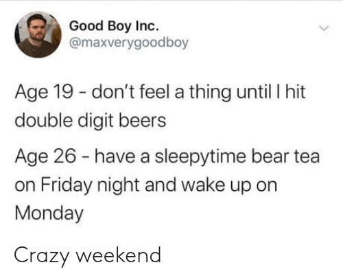 Inc: Good Boy Inc.  @maxverygoodboy  Age 19 - don't feel a thing until I hit  double digit beers  Age 26 - have a sleepytime bear tea  on Friday night and wake up on  Monday Crazy weekend