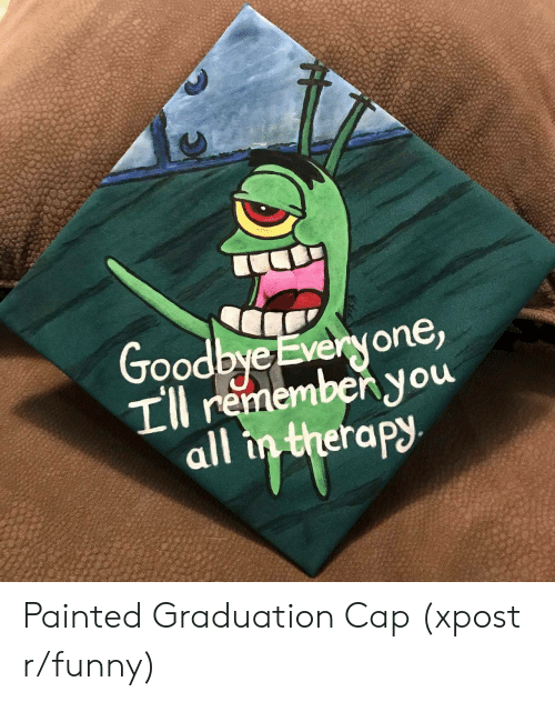 Rapy: Good  byeEveryone  rememben,you  rapy Painted Graduation Cap (xpost r/funny)