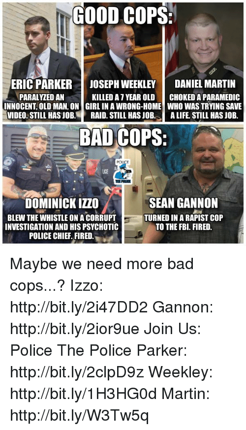 Fbi, Martin, and Memes: GOOD COPS  ERIC PARKER JOSEPH WEEKLEY  DANIEL MARTIN  PARALYZEDAN  KILLED AT YEAR OLD  CHOKEDA PARAMEDIC  INNOCENT OLD MAN, ON GIRL IN AWRONG-HOME WHO WAS TRYING SAVE  VIDEO STILL HAS JOB  RAID. STILL HAS JOB  A LIFE STILL HASJOB.  BAD COPS:  POLICE  SEAN GANNON  DOMINICK IZZO  BLEW THE WHISTLE ONACORRUPT  TURNED IN A RAPIST COP  INVESTIGATION AND HIS PSYCHOTIC  TO THE FBI. FIRED.  POLICE CHIEF FIRED Maybe we need more bad cops...?  Izzo: http://bit.ly/2i47DD2 Gannon: http://bit.ly/2ior9ue Join Us: Police The Police Parker: http://bit.ly/2clpD9z Weekley: http://bit.ly/1H3HG0d Martin: http://bit.ly/W3Tw5q