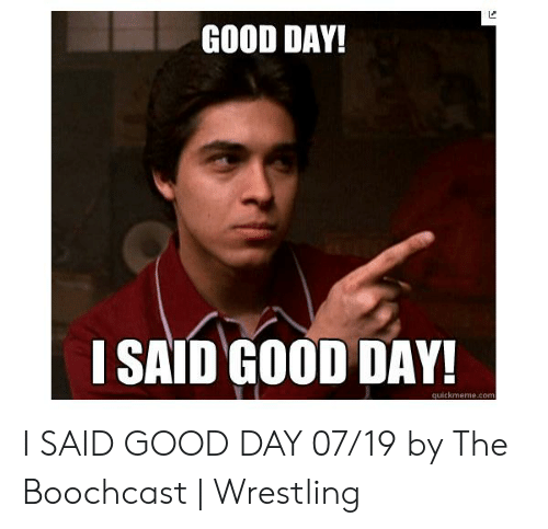 I Said Good Day Meme: GOOD DAY!  I SAID GOOD DAY!  quickmeme.com I SAID GOOD DAY 07/19 by The Boochcast | Wrestling