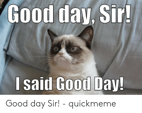 I Said Good Day Meme: Good day, Sir!  I said Good Day!  quickmeme.com Good day Sir! - quickmeme