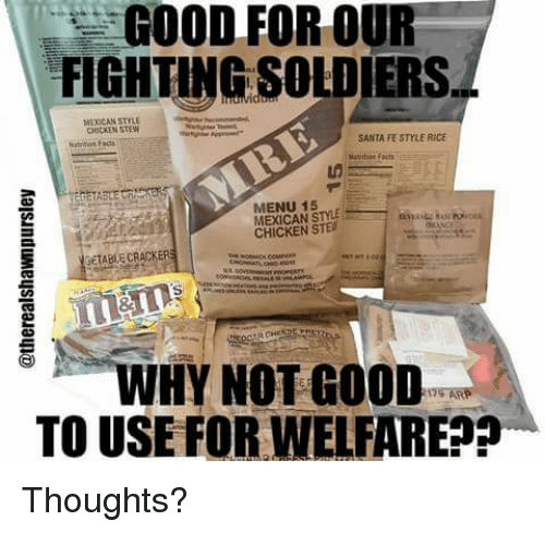 Memes, Soldiers, and Chicken: GOOD FOR OUR  FIGHTING SOLDIERS  MEXICAN STYLE  MICKEN STEW  SANTA FE STYLE RICE  MENU 15  MEXICAN STYLE  CHICKEN STE  SETABLE CRACKERS  i、WHY NOT GOOD  TO USE FORWELFARE?? Thoughts?