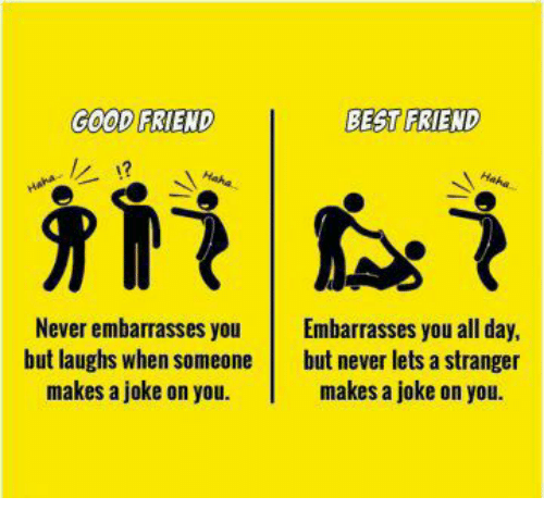 Best Friend, Memes, and Best: GOOD FRIEND  BEST FRIEND  Never embarrasses you Embarrasses you all day,  but laughs when someone but never lets a stranger  makes a joke on you.  makes a joke on you.