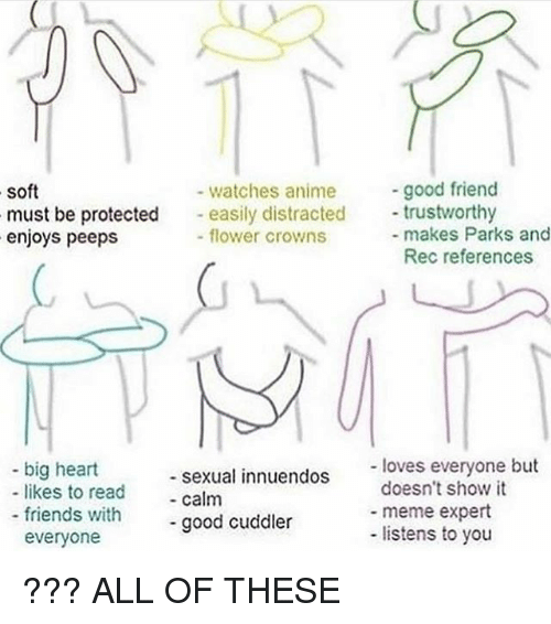 Anime, Friends, and Meme: good friend  watches anime  soft  must be protected  easily distracted  trustworthy  flower crowns  makes Parks and  enjoys peeps  Rec references  loves everyone but  big heart  sexual innuendos  doesn't show it  likes to read  calm  meme expert  friends with  good cuddler  listens to you  everyone ??? ALL OF THESE