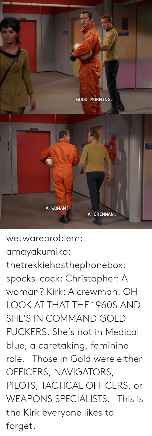 Tactical: GOOD MORNING   A WOMAN  A CREWMAN wetwareproblem:  amayakumiko:  thetrekkiehasthephonebox:  spocks–cock:  Christopher: A woman? Kirk: A crewman.  OH LOOK AT THAT THE 1960S  AND SHE'S IN COMMAND GOLD FUCKERS. She's not in Medical blue, a caretaking, feminine role.  Those in Gold were either OFFICERS, NAVIGATORS, PILOTS, TACTICAL OFFICERS, or WEAPONS SPECIALISTS.   This is the Kirk everyone likes to forget.