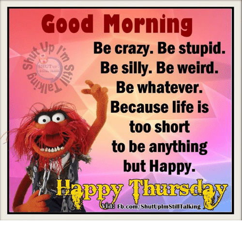 Being Weird, Crazy, and Dank: Good Morning  pa Be crazy. Be stupid.  Be silly. Be weird.  Be whatever.  Because life is  OO  too short  to be anything  but Happy  Via  Fb.com/ShutUplmStillTalking