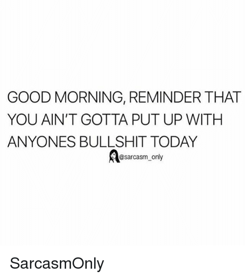 Funny, Memes, and Good Morning: GOOD MORNING, REMINDER THAT  YOU AIN'T GOTTA PUT UP WITH  ANYONES BULLSHIT TODAY  @sarcasm_ only SarcasmOnly