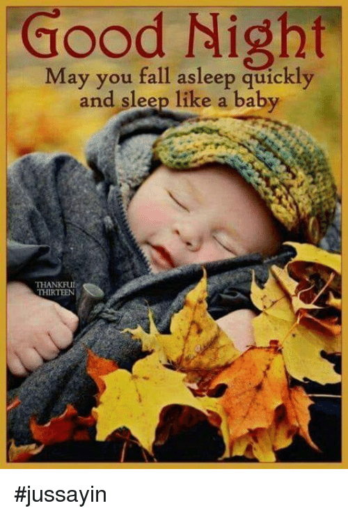Dank, Fall, and Good: Good  Night  May you fall asleep quickly  and sleep like a baby  THANKFUI  THIRTEEN #jussayin