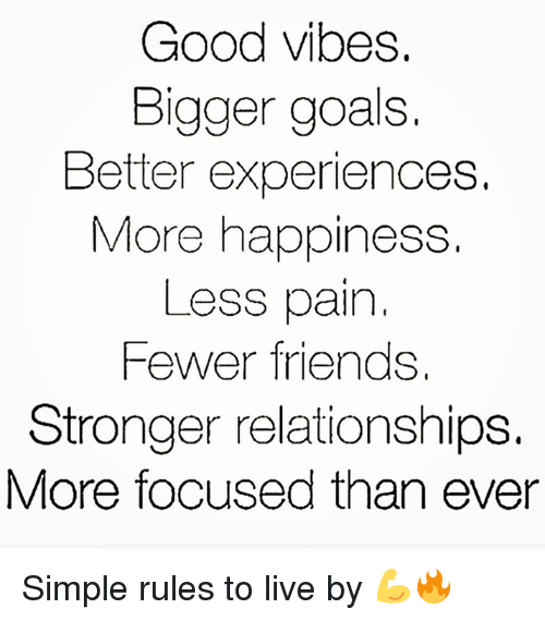 good vibe: Good vibes.  Bigger goals  Better experiences.  More happiness.  Less pain  Fewer friends.  Stronger relationships.  More focused than ever Simple rules to live by 💪🔥