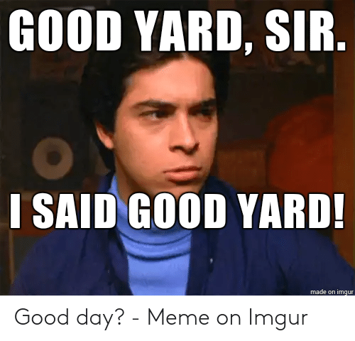 I Said Good Day Meme: GOOD YARD, SIR.  I SAID GOOD YARD!  made on imqur