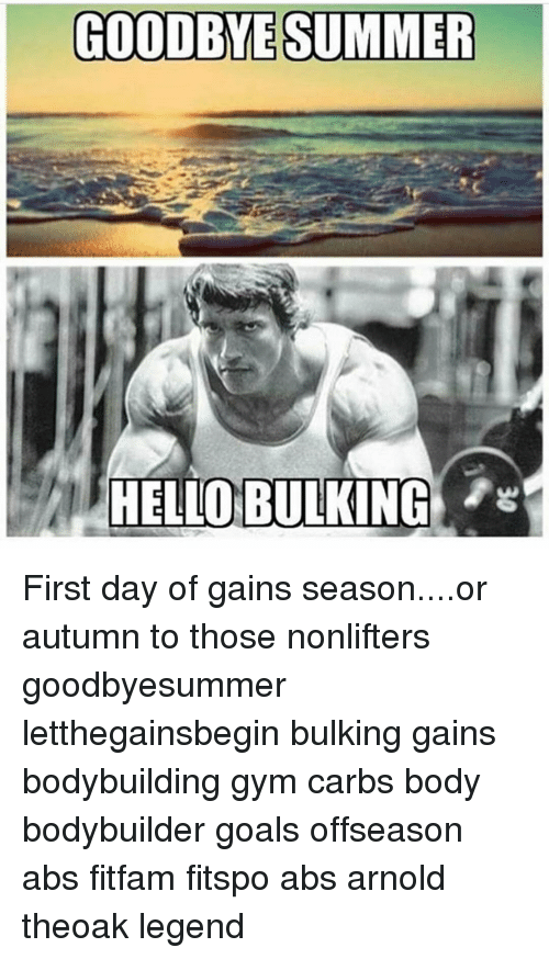 Memes, 🤖, And Abs: GOODBYE SUMMER HELLO BULKING First Day Of Gains Season