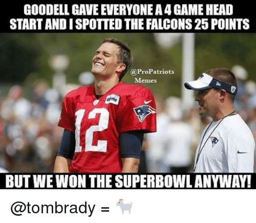 Pro Patriots: GOODELL GAVE EVERYONEA4 GAME HEAD  STARTANDISPOTTED THE FALCONS 25 POINTS  (a Pro Patriots  Memes  BUT WEWON THE SUPERBOWL ANYWAY! @tombrady = 🐐