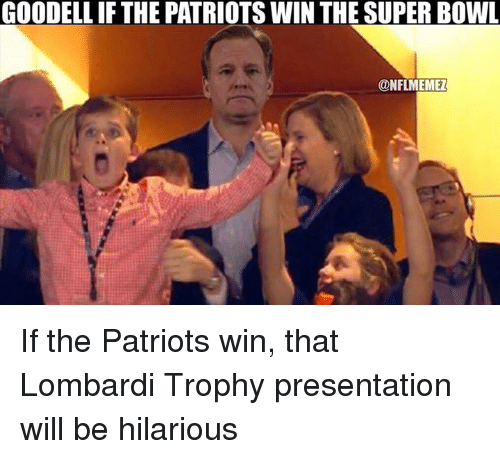 Nfl, Super Bowl, and The Patriot: GOODELLIF THE PATRIOTS WIN THE SUPER BOWL  CONFLMEMEZ If the Patriots win, that Lombardi Trophy presentation will be hilarious