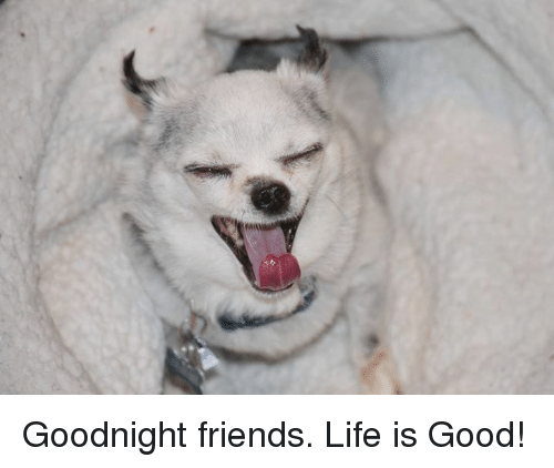 Good: Goodnight friends.  Life is Good!