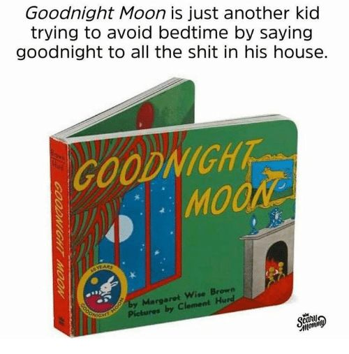 Shit, House, and Moon: Goodnight Moon is just another kid  trying to avoid bedtime by saying  goodnight to all the shit in his house.  COODNICHT  MOO  by Margaret Wise Brown  Pictures by Clement Hurd  can