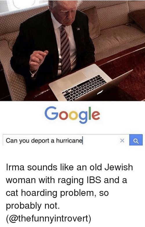 """womanizer: Google  -""""  Can you deport a hurricane Irma sounds like an old Jewish woman with raging IBS and a cat hoarding problem, so probably not. (@thefunnyintrovert)"""