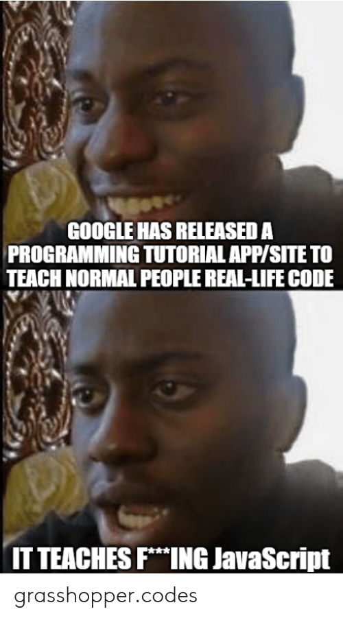 Normal People: GOOGLE HAS RELEASED A  PROGRAMMING TUTORIAL APP/SITE TO  TEACH NORMAL PEOPLE REAL-LIFE CODE  IT TEACHES FING JavaScript grasshopper.codes
