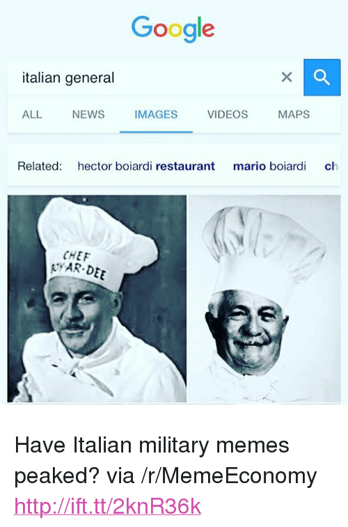 "Military Memes: Google  italian general  ALL  NEWS  IMAGES  VIDEOS  MAPS  Related: hector boiardi restaurant mario boiardi ch  CHEF  YAR DEE <p>Have Italian military memes peaked? via /r/MemeEconomy <a href=""http://ift.tt/2knR36k"">http://ift.tt/2knR36k</a></p>"