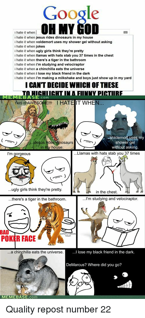 Bad, Girls, and God: Google  OH MY GOD  i hate it when  i hate it when jesus rides dinosaurs in my house  i hate it when voldemort uses my shower gel without asking  i hate it when jokes  i hate it when ugly girls think they're pretty  i hate it when llamas with hats stab you 37 times in the chest  i hate it when there's a tiger in the bathroom  i hate it when i'm studying and velociraptor  i hate it when a chinchilla eats the universe  i hate it when i lose my black friend in the dark  i hate it when i'm making a milkshake and boys just show up in my yard  I CAN'T DECIDE WHICH OF THESE  MEMEBAS  COM  THIS IS AWESOME!!!  HATE IT WH  EN  Voldemo  my  desus dès dnosaurs  n my house  shower gel  without asking  in  I'm gorgeous  Llamas with hats stab you 37 times  ...ugly girls think they're pretty  in the chest.  there's a tiger in the bathroom.  ...I'm studying and velociraptor  BAD  POKER FACE  a chinchilla eats the universe  lose my black friend in the dark  DeMarcus? Where did you go?  MEMEBASE.com