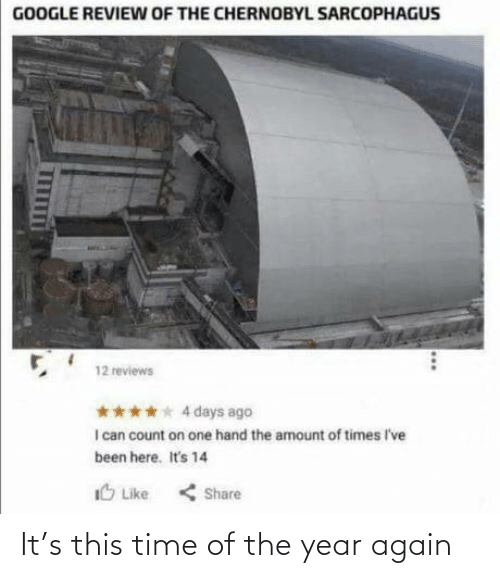4 Days: GOOGLE REVIEW OF THE CHERNOBYL SARCOPHAGUS  12 reviews  **** 4 days ago  I can count on one hand the amount of times I've  been here. It's 14  IO Like  < Share It's this time of the year again