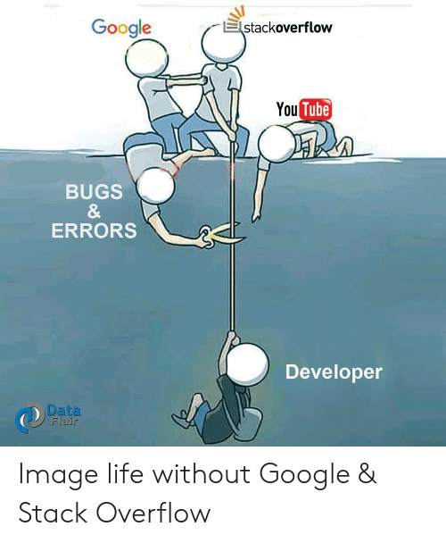 Tube: Google  stackoverflow  You Tube  BUGS  &  ERRORS  Developer  Data  Flair Image life without Google & Stack Overflow