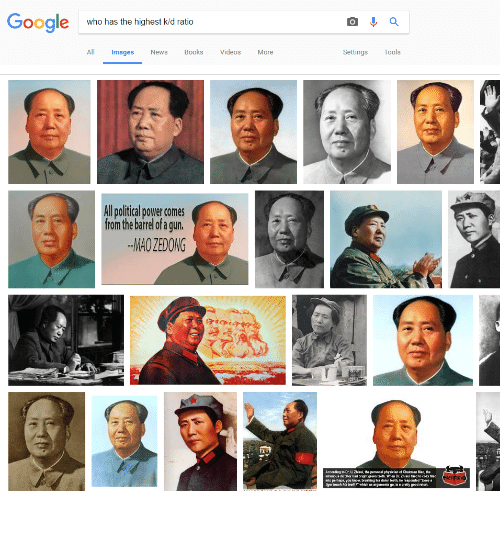 """Mao Zedong: Google  who has the highest kid ratio  All mages News Books Videos More  Settings Tools  Allpolitical power comes  from the barrelofa gun.  MAO ZEDONG  According toDr. Li Zhisui, the peraonal physician of Chairman Mao, the  Infamous ctaor had bright green beeth When De. Drisul tried to coax Mao  into perhaps, you know, bruahing Ns damn teath, he esponded """"Doea a  ger brush his Seeth ? whichgamants go,ia apretty good atort <p>✯✯✯✯✯✯</p>"""