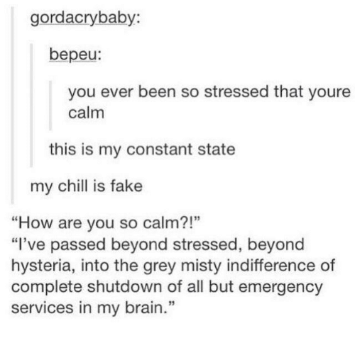 """Chill, Fake, and Brain: gordacrybaby:  bepeu:  you ever been so stressed that youre  calm  this is my constant state  my chill is fake  """"How are you so calm?!""""  """"I've passed beyond stressed, beyond  hysteria, into the grey misty indifference of  complete shutdown of all but emergency  services in my brain."""""""